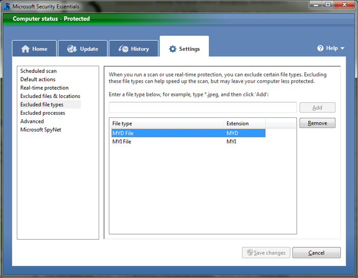 Ignore *.MYI and *.MYD in Microsoft Security Essentials
