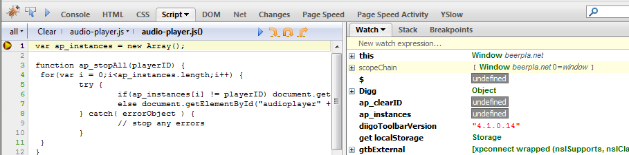 How To Make Firebug's JavaScript Debugger Break Inside Dynamic