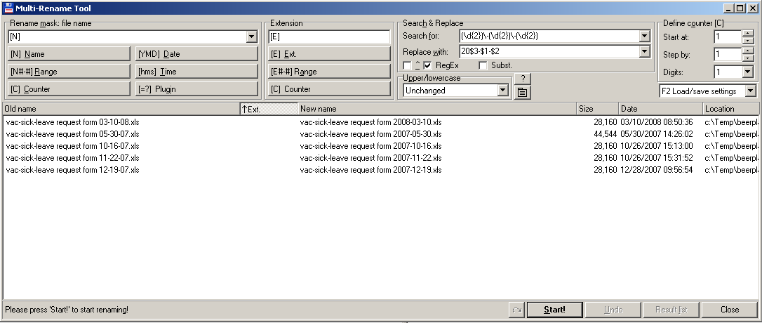 Mass Renaming Directories And Files Using Total Commander