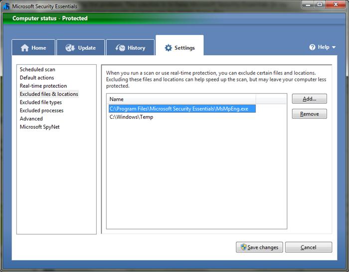 Ignore Windows Temp dir in Microsoft Security Essentials